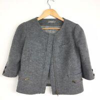 Hoss Intropia Grey Wool Short Boxy Blazer Jacket 60s Jackie O Preppy Smart 10 36