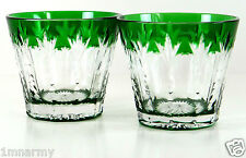 Faberge Grand Palais Votive Candleholders Signed, Emerald Cased Crystal