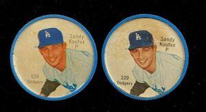 Sandy Koufax 1962 Salada Tea and Junket Coin #109  (2) COIN LOT !!!  DODGERS