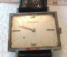 Vintage Juvenia Stainless Rectangular Winding Up Men's Watch 17 Jewels Working