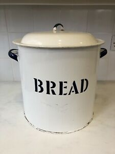 Vintage White And Blue Enamel Round Bread Bin 11.5 Inches High 12 Inch Diameter