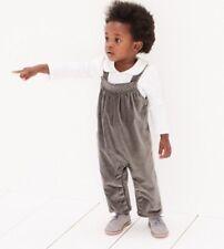 Children's Grey Velvet Dungarees Ages 9-12 Months