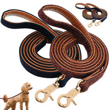 Black Leather Dog Leash 4 foot Double Layer Small Medium Dog Walking Leash Lead