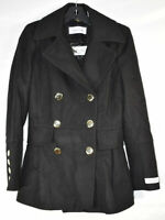 Calvin Klein Women's Petite Size Wool Peacoat Double Breasted, Black, Size PXS