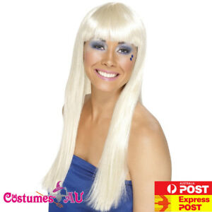 Ladies 70s Blonde Wig Dancing Queen Disco Lady 1970s Trooper Costume Accessory