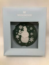 Wedgwood Jasperware Christmas Green Snowman Ornament w/ Box