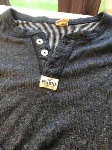 Mens Hollister Navy Grandad Style Shirt