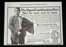 1912 OLD MAGAZINE PRINT AD, THE SIGNAL COMBINATION SHIRT, NEAT FOR WORK & HOME!