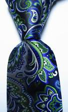 New Classic Paisley Blue Black White Green JACQUARD WOVEN Silk Men's Tie Necktie