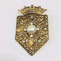 Vintage Faux Pearl Rhinestone Shield Brooch Fleur de Lis Floral Gold Tone