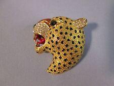 CINER vintage gold plated Enamel & Enamel Leopard Rhinestone PIN BROOCH