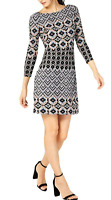 Vince Camuto Women's Size 4 Black Printed 3/4 Sleeves Mini Shift Dress NEW #18
