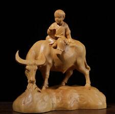 TJ178ca -12.5x12.5x6 CM Carved Boxwood Carving Figurine - Boy Reading on Buffalo