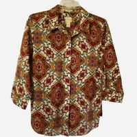 Chicos Womens Button Front Shirt Multicolor Floral 3/4 Sleeve Stretch M/8