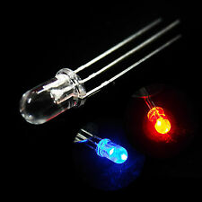 50 x 3mm Dual Bi-Color Red Blue Bright 3-Pin Clear bulb LED Common Anode