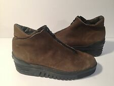 Arche Made in France Brown Nubuck Leather Front Zipper Boots 42 / 11.5 US