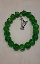 Gorgeous Irish harp charm green 10mm crackle glass beaded bracelet  gift bag