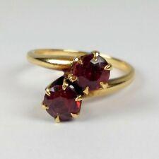 Antique Victorian 10K Yellow Gold Garnet Doublet Bypass Engagement Ring Sz 6.5