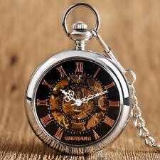 Vintage Roman Number Dial Mechanical Hand Wind Open Face Skeleton Pocket Watch