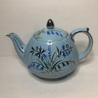 VTG Sadler Blue Floral Covered Teapot w/ Gold Trim England #1604 Excellent Cond!