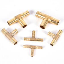 6~16mm Brass T Piece 3 Way Fuel Hose Connector For Compressed Air Oil Gas Pipe W
