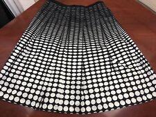 CALVIN KLEIN Geometric Circles Womens Pleated Skirt Black & White Size 8