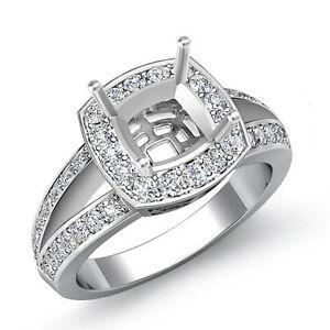 Diamond Engagement Halo Ring 14k White Gold Cushion Semi Mount Split Shank 0.6Ct