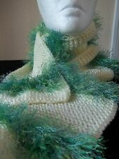 Hand knitted  soft yellow and green scarf with fuzzy green stripes
