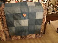 handmade denim patchwork baby/doll blanket w/tweetybird applique