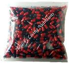 1000 EMPTY gel GELATIN CAPSULES SIZE 00  Colored Red/Black Kosher