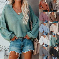 Women T Shirt Long Sleeve Blouse Tops Ladies Casual Jumper Pullover Sweater LIU