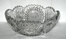 "GORGEOUS  Vintage/Antique Lead Crystal Cut Glass Bowl ~ 8 1/2"" Saw Tooth Edge"