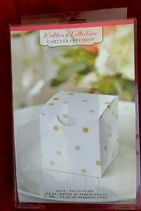 72 Pcs Party Favor Boxes White Gold Dots Shower Anniversary Wedding Treat Boxes