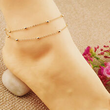 Lady Attractive Barefoot Sandal Beach Foot Double Chain Beads Anklet Ankle Chain