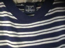 POLO CLUB MANHATTAN - Cotton Blend S/S Blue Striped Shirt -  Size M
