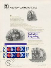 #45 10c Collective Bargaining #1558  USPS Commemorative  Panel w/4 FDC Tied Zips