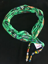 CAMILLA FRANKS SILK QIN SCARF BELT WRAP HEADBAND WITH TASSELS / BEADS