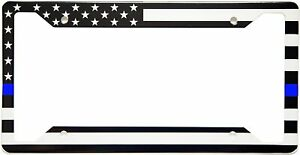 American Flag Thin Blue Line License Plate Frame, High-grade 304 Stainless Steel