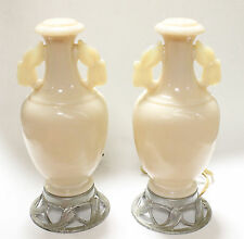 2 Art Dec Art  Aladdin Luminaires Pale Pink Ivory Alacite Closed Urn Lamps Glass