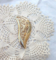 Vintage Beautiful Gold tone Filigree Brooch Pin