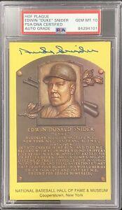Duke Snider Signed Gold Plaque HOF Postcard Yellow Dodgers PSA/DNA Auto Gem 10