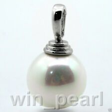 Huge 20mm round south sea White shell pearl Pendants necklace