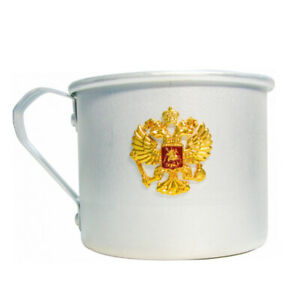 Aluminum Mug with Russia Coat of Arms Two Headed Eagle Emblem. Camping Hiking