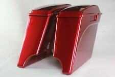 "Ember red sunglo c 4"" both cutout Stretched extended saddlebags for Harley 93-13"