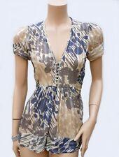 Haut BCBG MAXAZRIA T 34 XS 0 Graphique 100% soie Blouse Tunique Top silk été