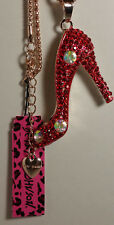 Betsey Johnson Red Crystal High Heel Shoe with Necklace - NEW