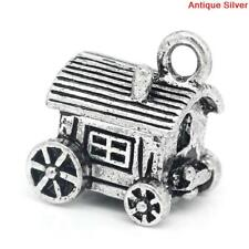 4 COVERED WAGON Charms, Western Theme Charms, Travel Charms, Silver chs2077
