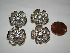Vintage Lot of 4 Silver Metal with Clear Rhinestones Flower Buttons 1 1/16""
