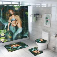 4Pcs 180x180cm Mermaid Bathroom Shower Curtain Hooks + Toilet Cover Bath Mat Set