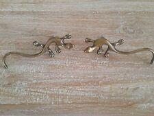 Furniture Brass Gecko Lizard Cupboard Cabinet Handles Pair